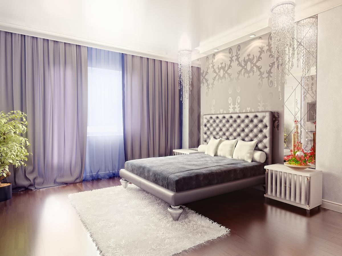 elegant bedroom with lavender hint linda