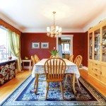 Red dining room with hardwood floor and rug