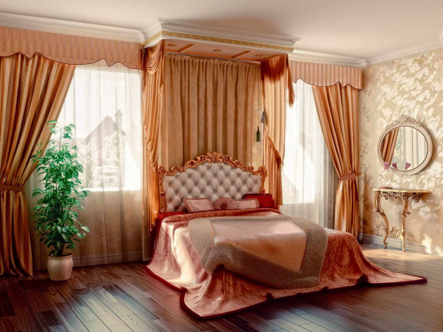 Bedroom with wood floor and draperies